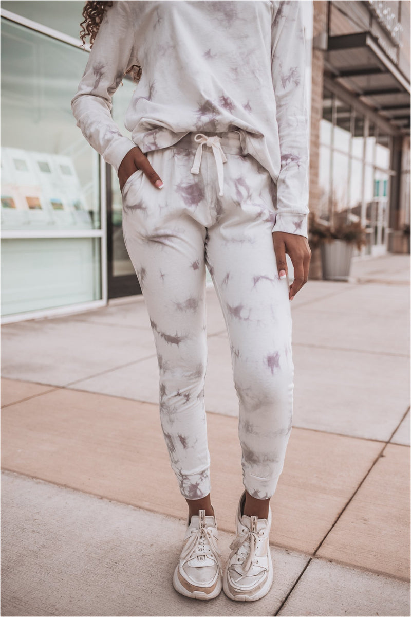 Moon Dust Tie-Dye Cuffed Skinny Joggers - BluePeppermint Boutique