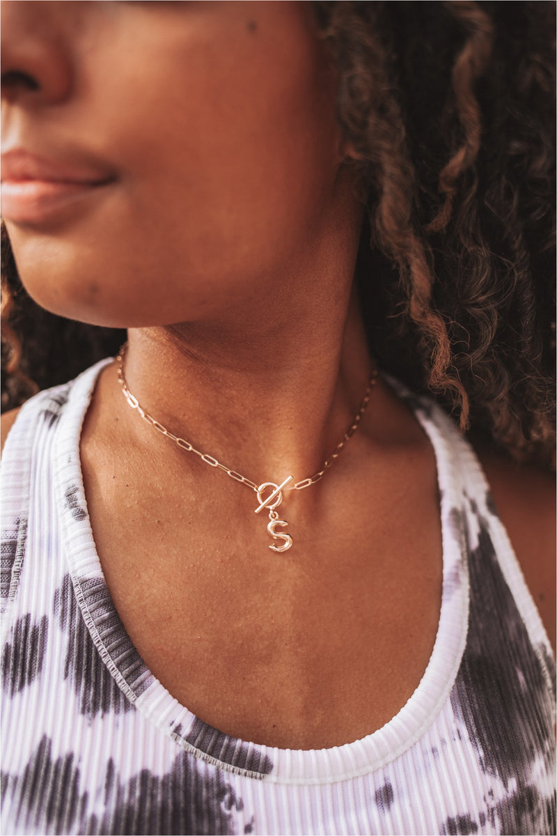 Initial Toggle Paperclip Necklace