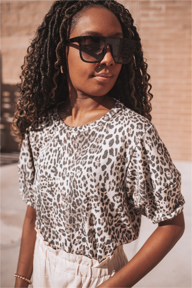Animal Print Short Sleeve Tee - BluePeppermint Boutique