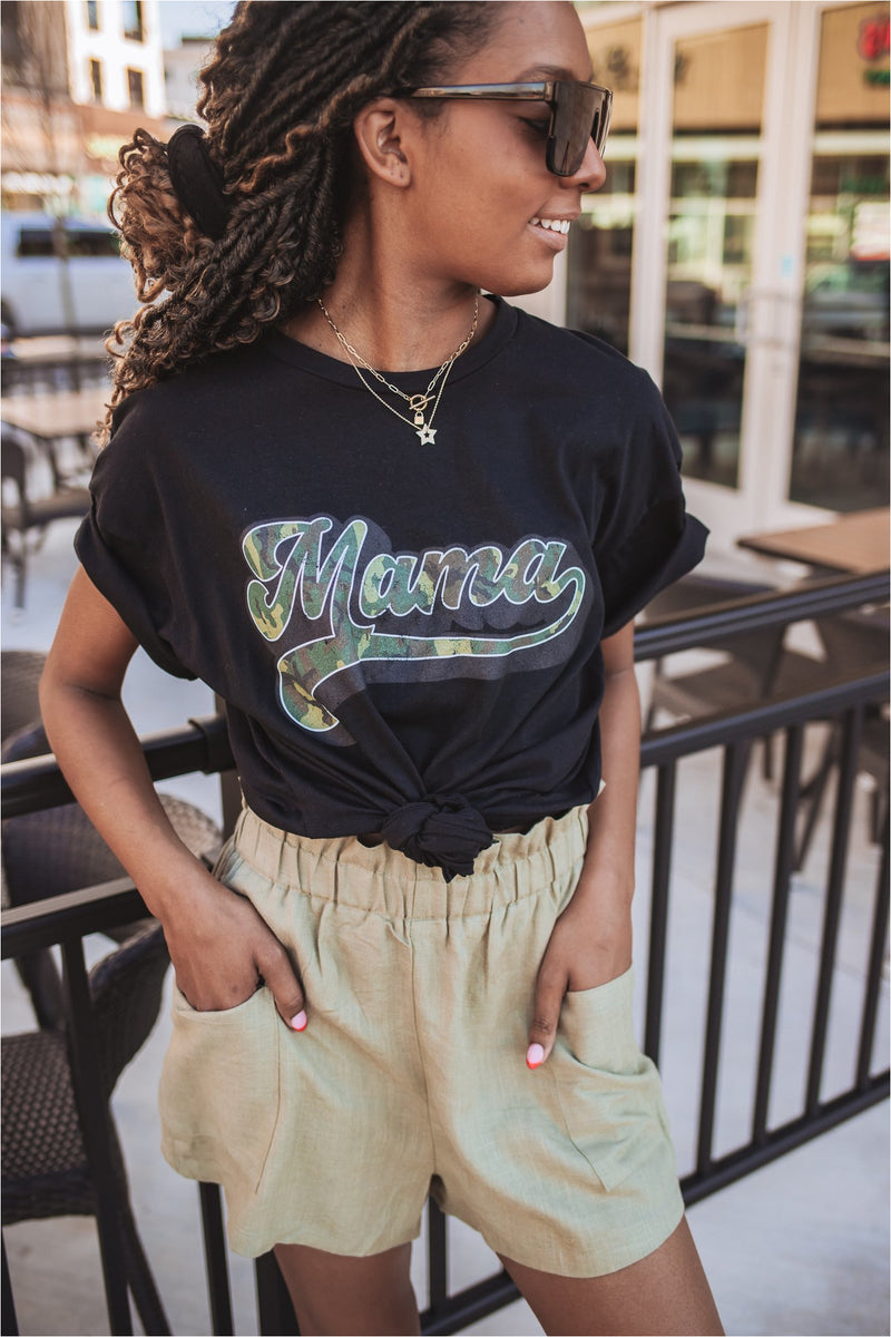 Mama Camo Tee-Black - BluePeppermint Boutique