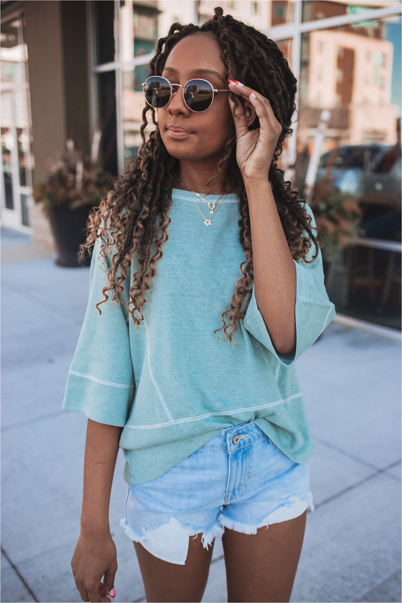 Sage Mint Contrast Knit Top - BluePeppermint Boutique