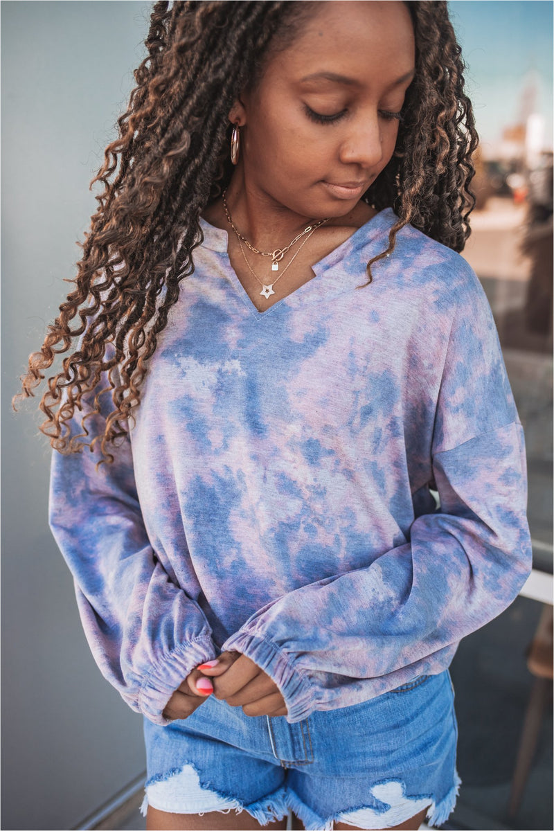 Grey/Pink Tie Dye French Terry Sweatshirt - BluePeppermint Boutique