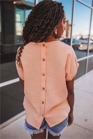 Apricot Button Back Gauze Top - BluePeppermint Boutique