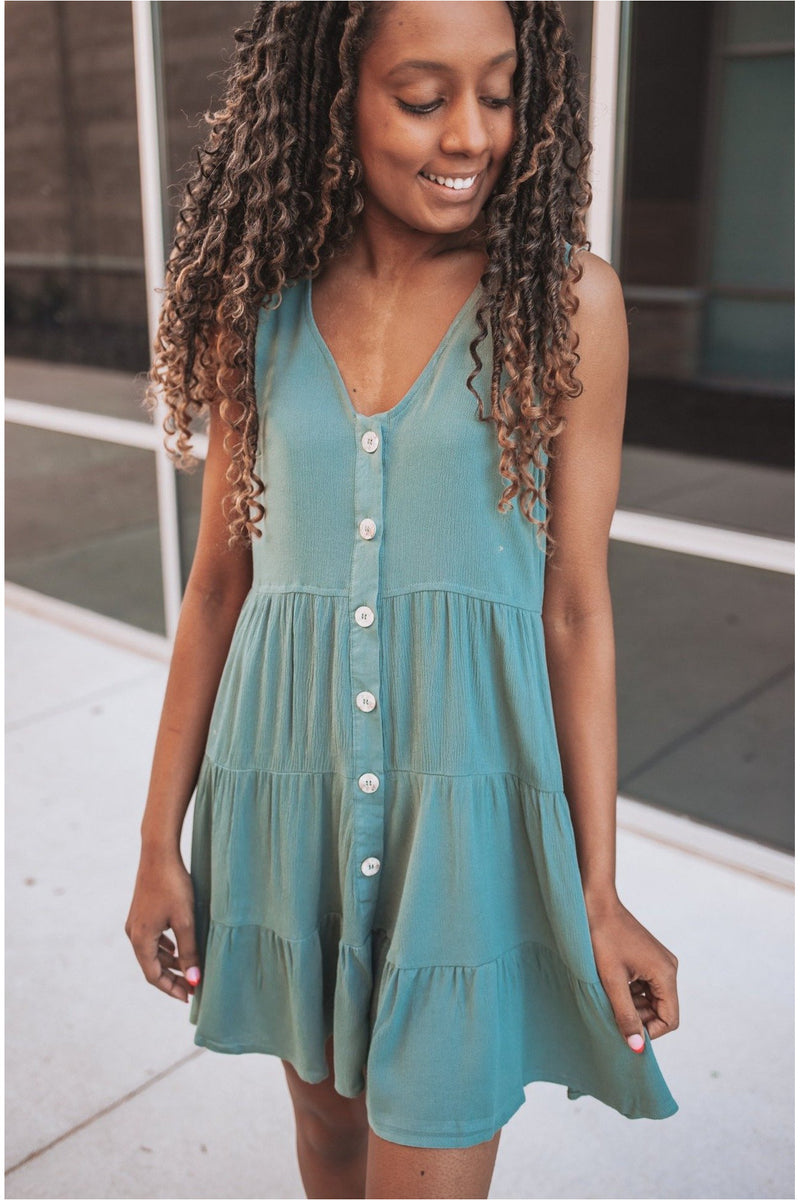 Teal Ruffle Button Down Swing Dress - BluePeppermint Boutique