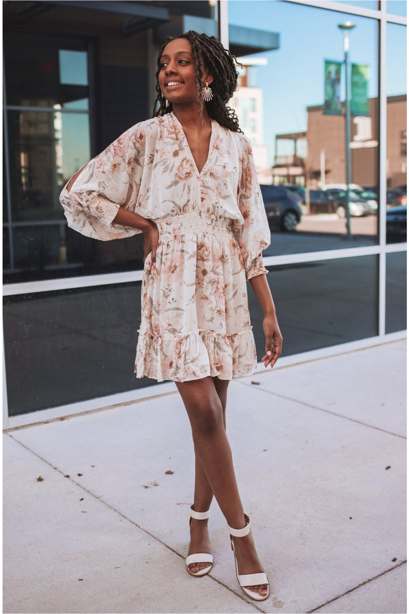 Vanilla/Rose Split Sleeve Floral Dress