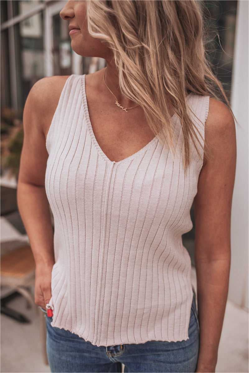 Lavender Ribbed Cut Out Tank Top - BluePeppermint Boutique