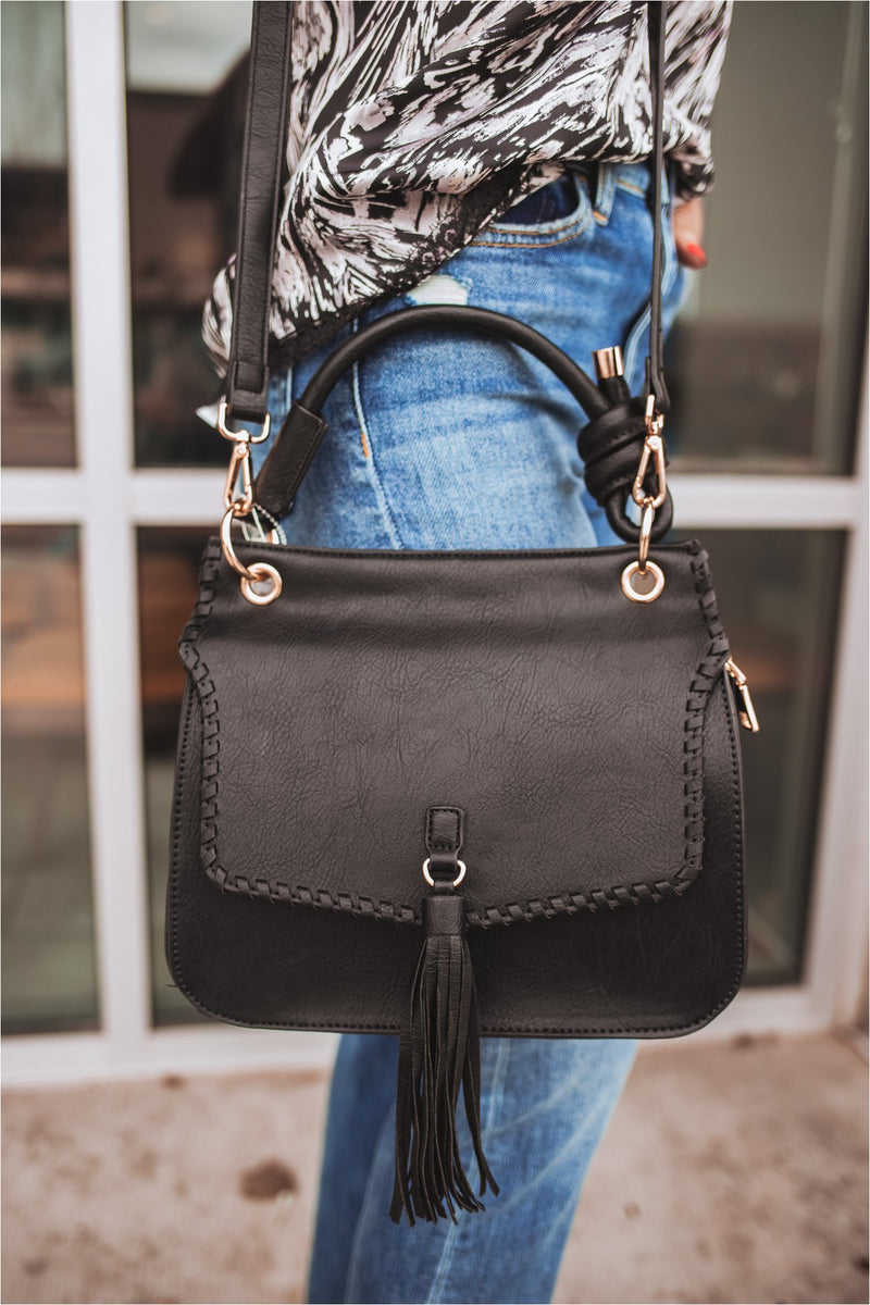Leather Tassel + Twist Crossbody-Black - BluePeppermint Boutique