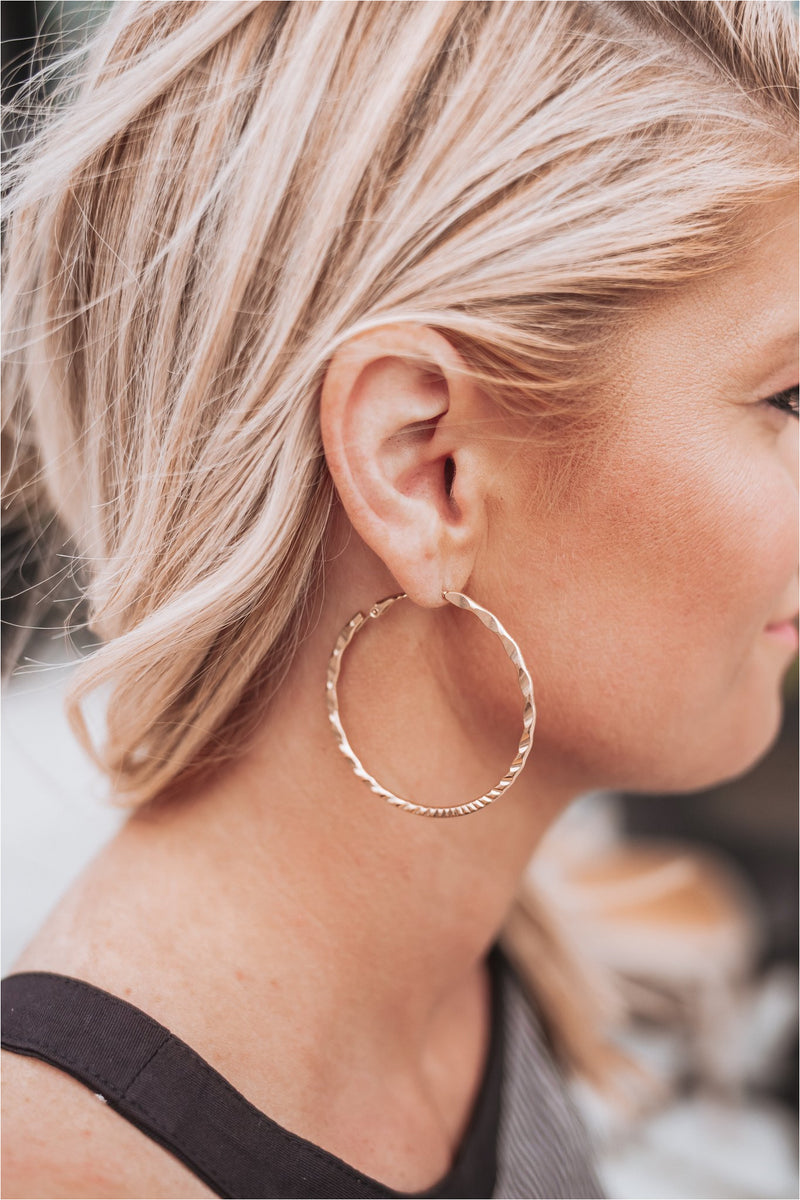 Gold Twisted Hoop Earrings - BluePeppermint Boutique