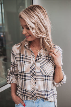 Beige Plaid Shirt with Rolled Sleeve - BluePeppermint Boutique