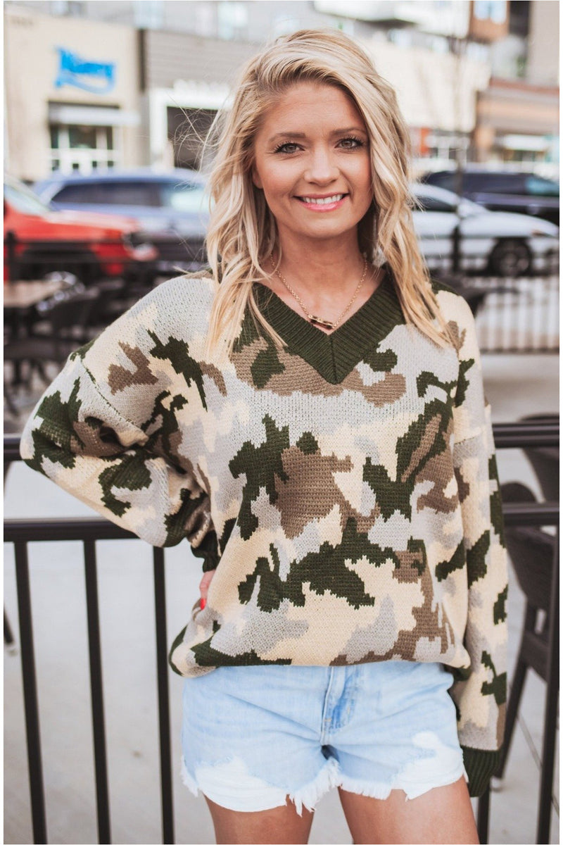 Camo V-Neck Sweater - BluePeppermint Boutique