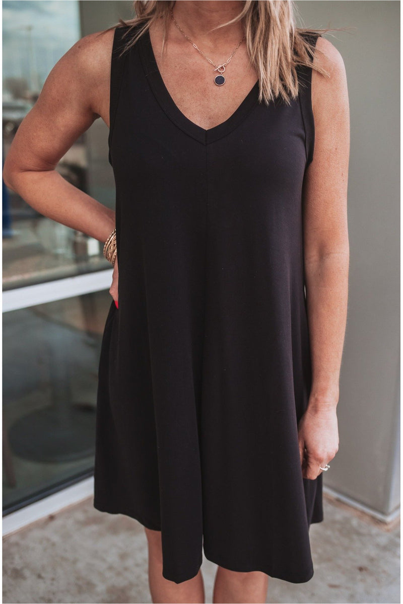 Sleeveless Mini Flare Dress-Black - BluePeppermint Boutique