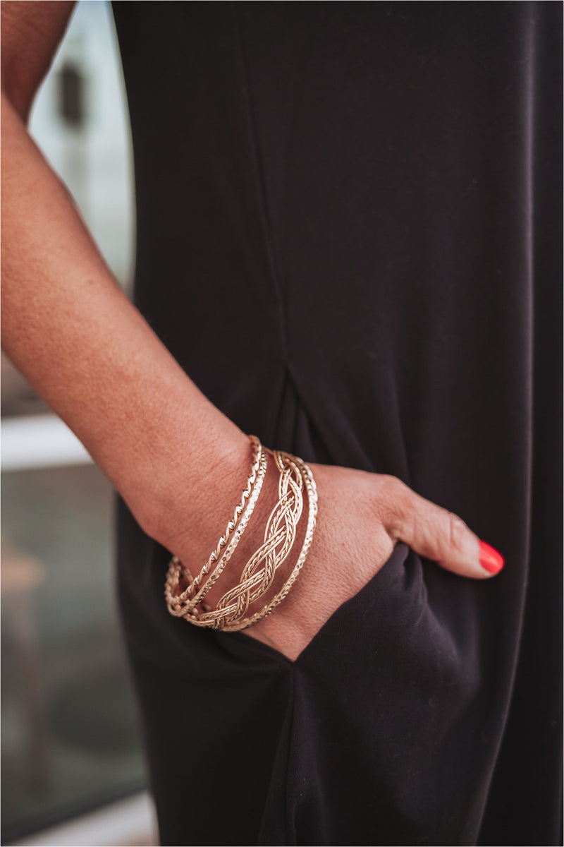 Set of 5 Gold Twisted Bangles - BluePeppermint Boutique