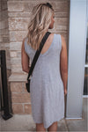 Sleeveless Mini Flare Dress-Heather Grey - BluePeppermint Boutique