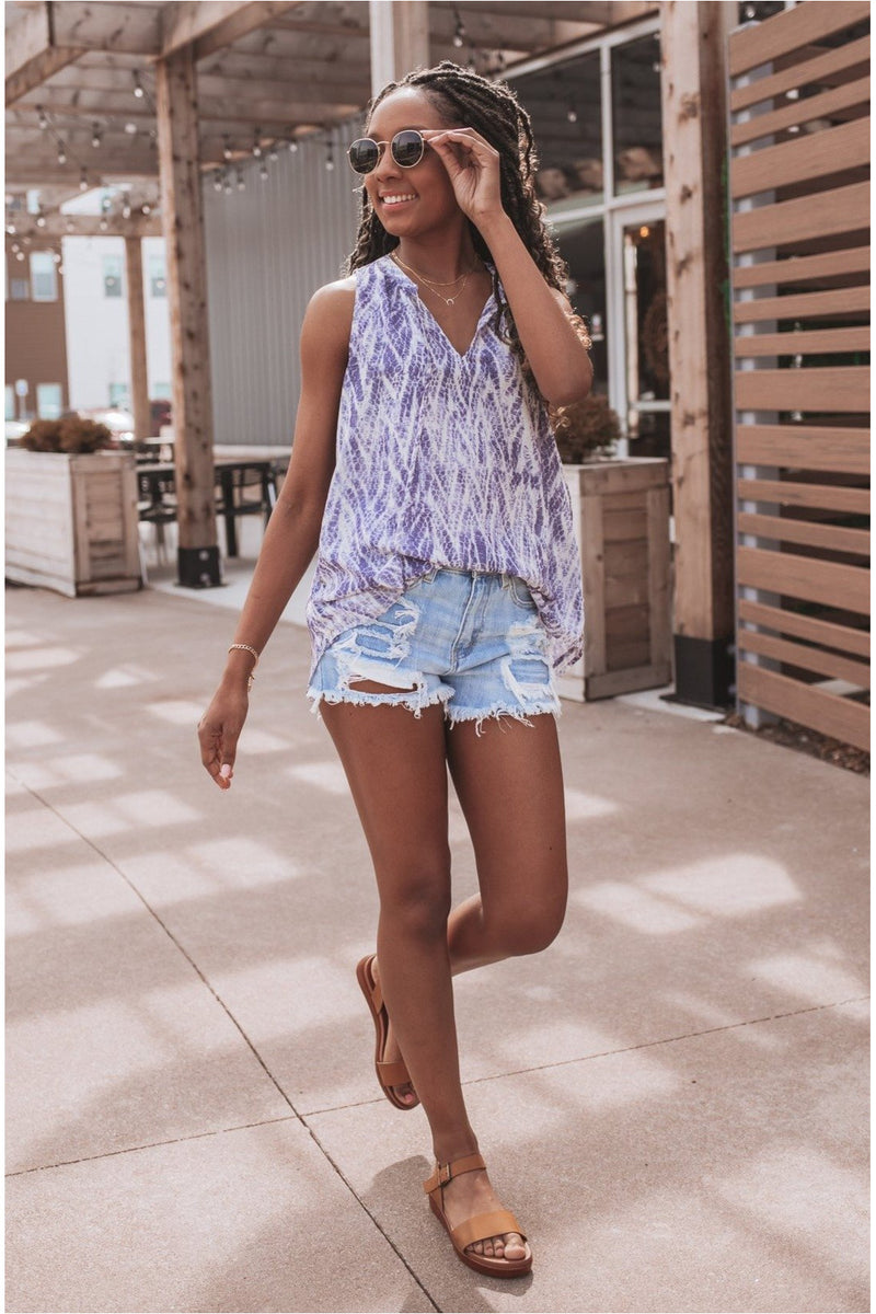 Blue Printed Side Button Tank - BluePeppermint Boutique