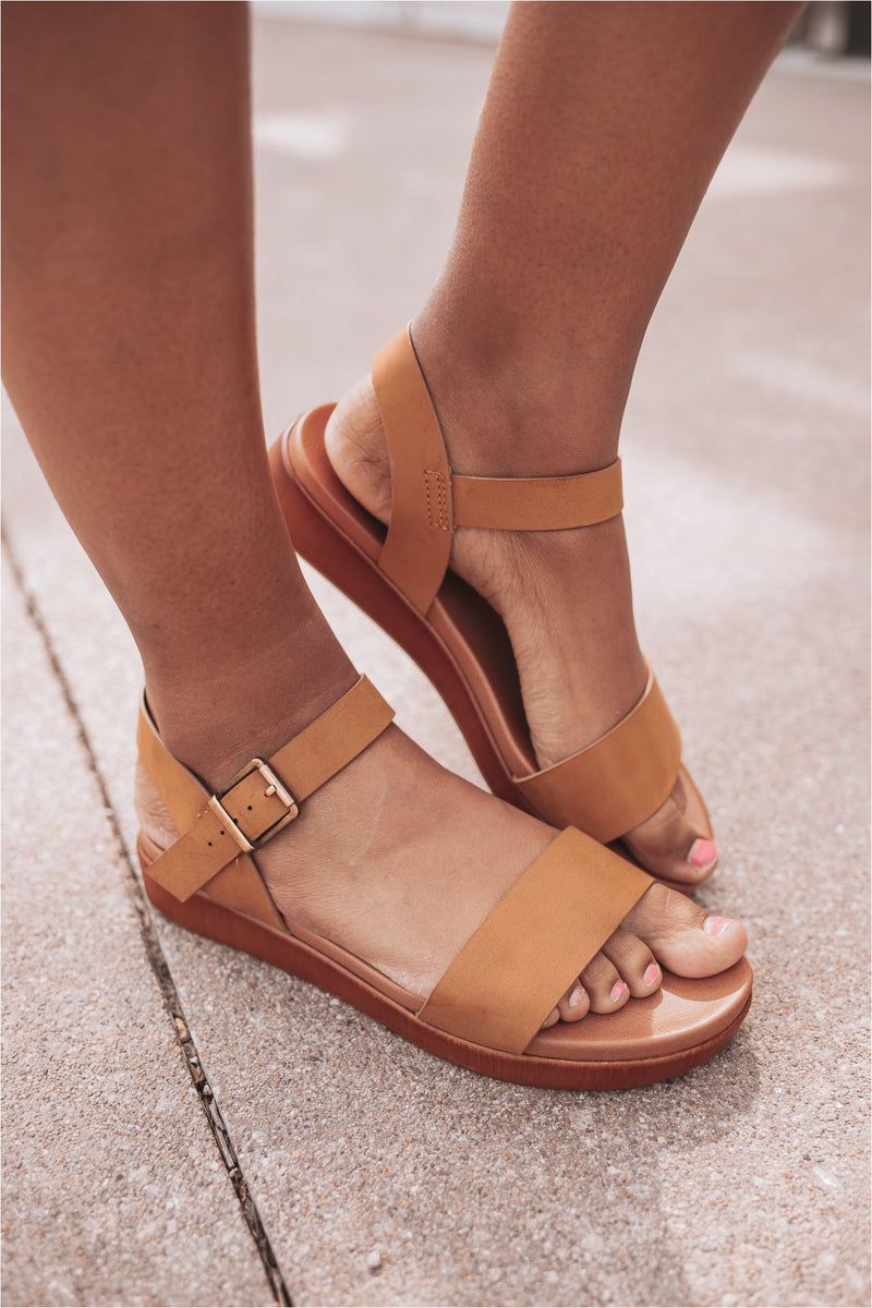 The Perfect Summer Sandal-Tan - BluePeppermint Boutique