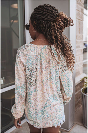 Pastel Raindrop Tassel Blouse - BluePeppermint Boutique