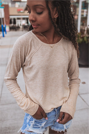 Dye Fade Long Sleeve Top - Taupe - BluePeppermint Boutique