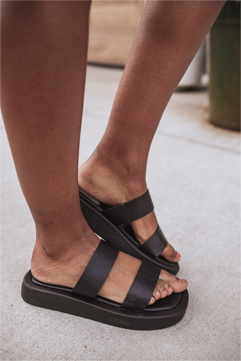 Basic Two Strap Sandal- Black - BluePeppermint Boutique
