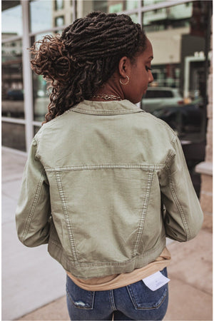 Olive Snap Button Jacket - BluePeppermint Boutique