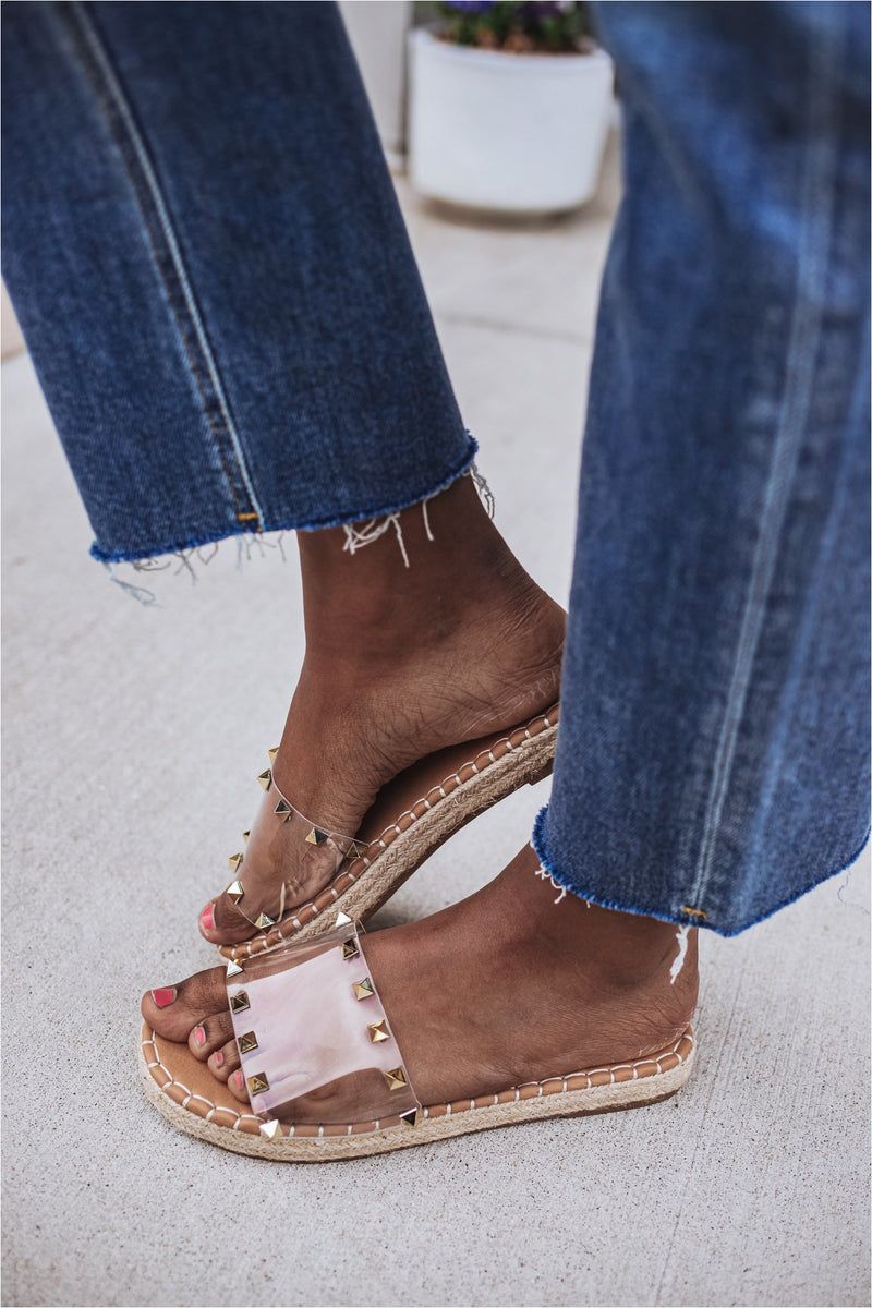 Gold Studded Clear Slide Sandals - BluePeppermint Boutique