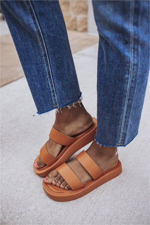 Basic Two Strap Sandal- Tan - BluePeppermint Boutique