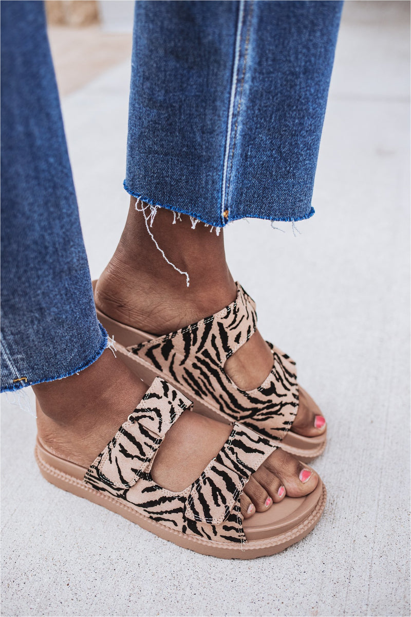 Camel Zebra Double Strap Casual Sandal - BluePeppermint Boutique