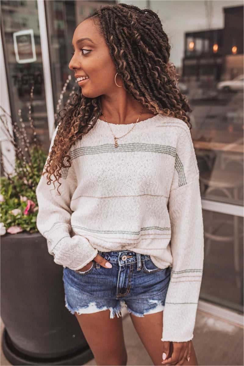 Cream/Sage Striped Spring Sweater - BluePeppermint Boutique