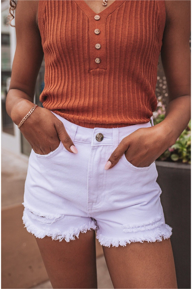 White Distressed High Rise Denim Shorts - BluePeppermint Boutique