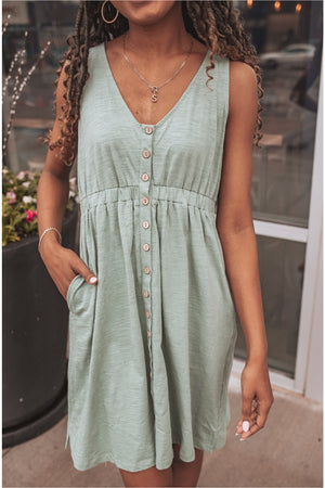 Sage Sleeveless Jersey Mini Dress - BluePeppermint Boutique