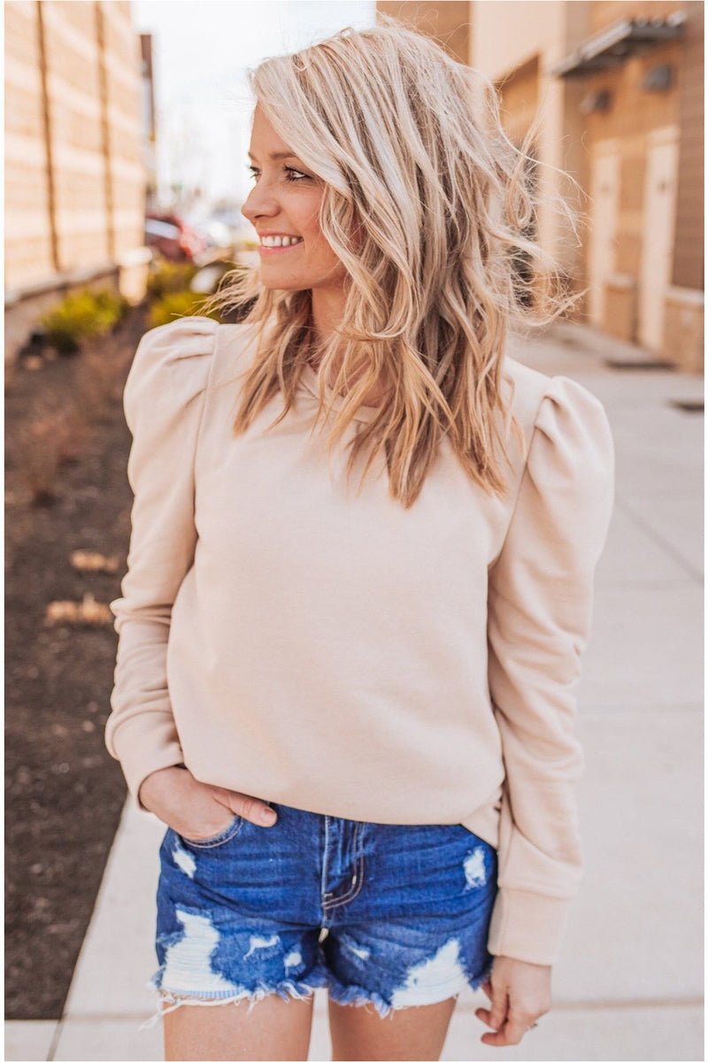 Puff Sleeve Sweatshirt- Taupe - BluePeppermint Boutique