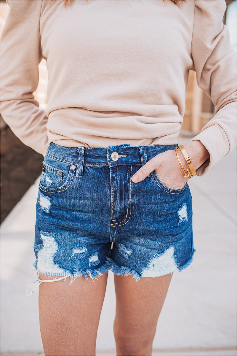 Stripe Patch High Rise Denim Shorts-Dark Wash - BluePeppermint Boutique