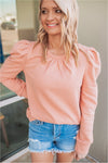 Puff Sleeve Sweatshirt- Rose - BluePeppermint Boutique