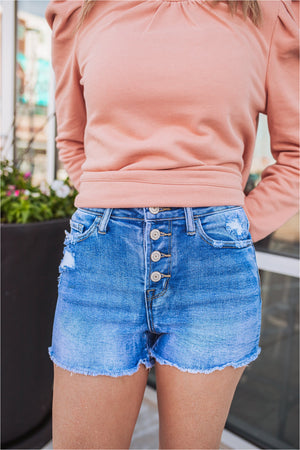 Last Dance High Rise Button Fly Denim Shorts - BluePeppermint Boutique