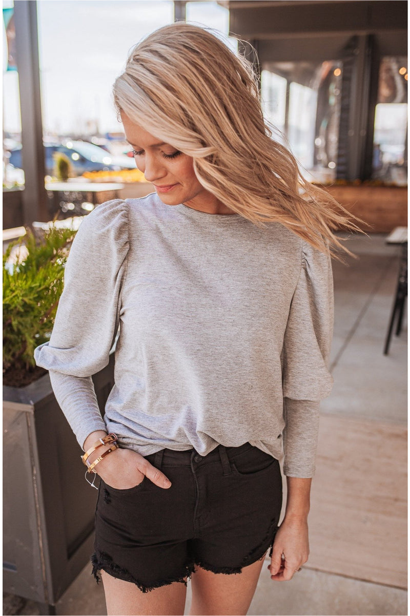 Ultra Soft Puff Sleeve Top- Heather Grey - BluePeppermint Boutique