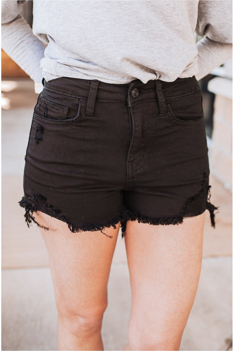 Jett Black High Rise Fray Hem Denim Shorts - BluePeppermint Boutique