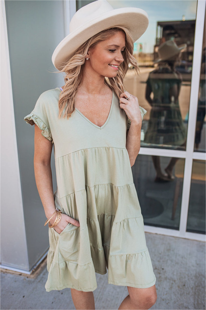 Light Olive Ruffle Sleeve Tiered Dress - BluePeppermint Boutique