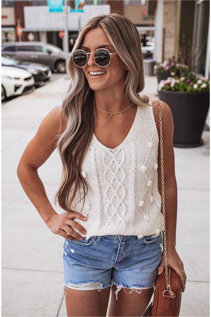 Knit Sweater Vest Tank-Cream - BluePeppermint Boutique