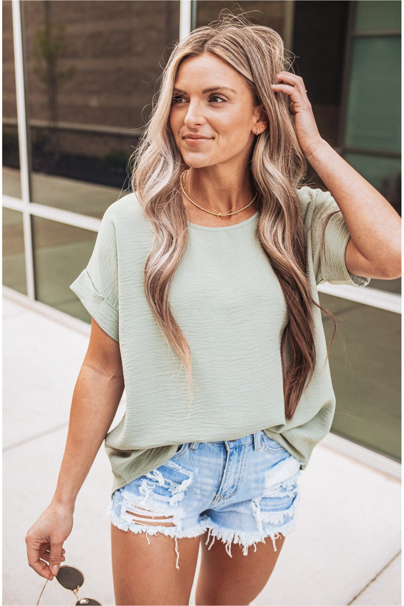 Sage Cuffed Sleeve Top