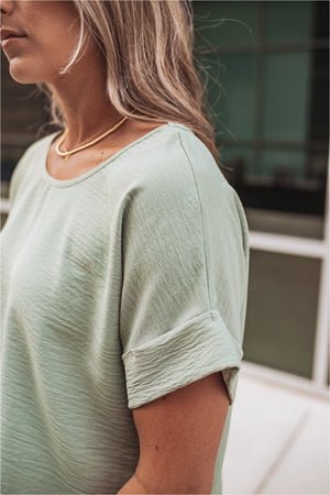 Sage Cuffed Sleeve Top - BluePeppermint Boutique