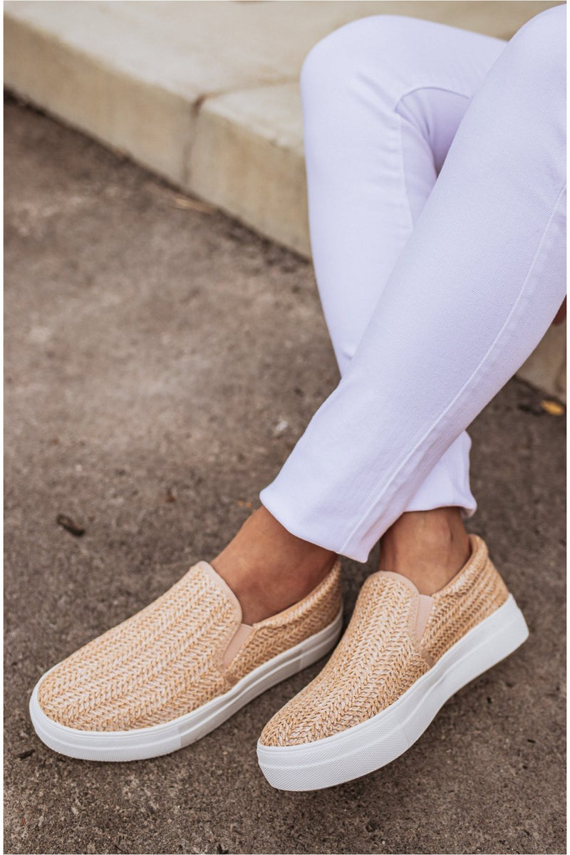 Natural Raffia Slip On Sneakers