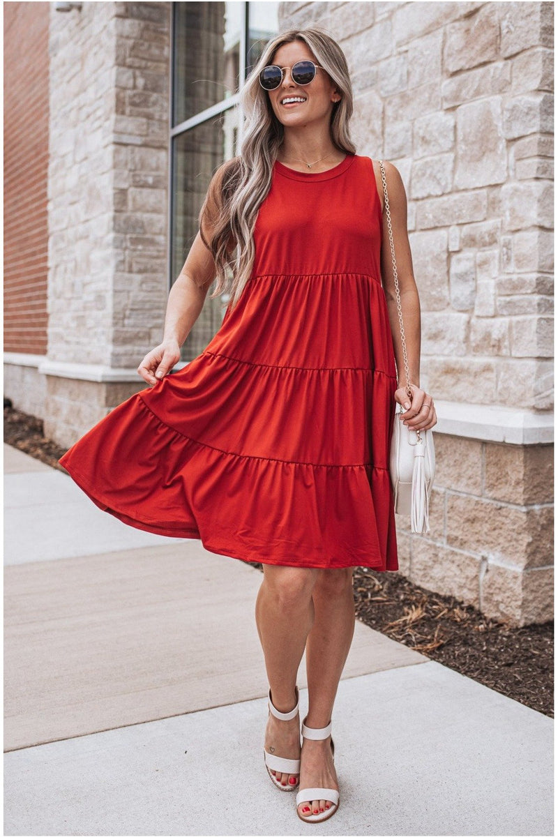 Rust Casual Tiered Dress