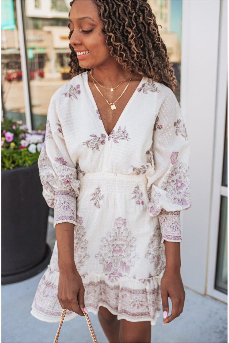 White/Purple Floral Smocked Dress - BluePeppermint Boutique