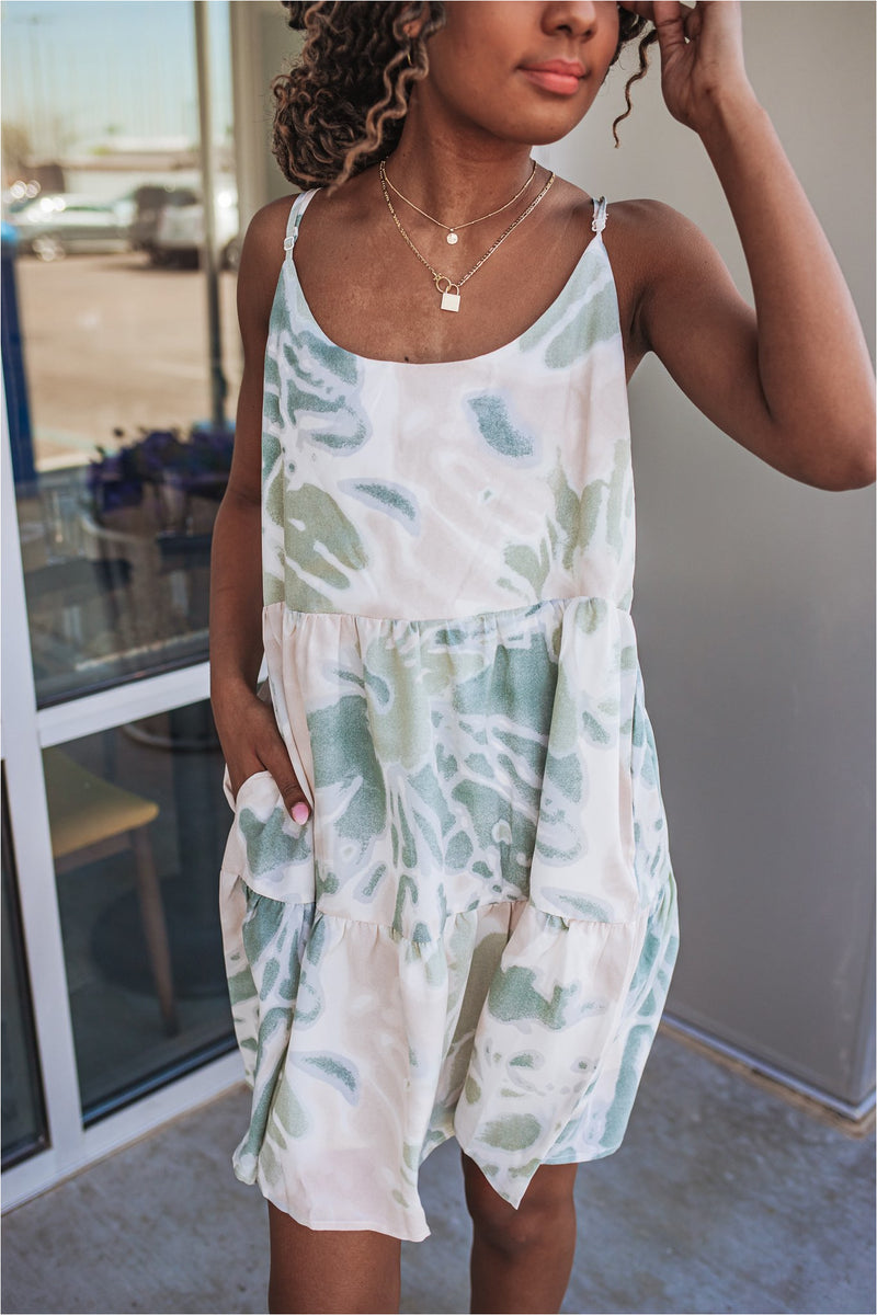 Green Tie Dye Tiered Dress - BluePeppermint Boutique