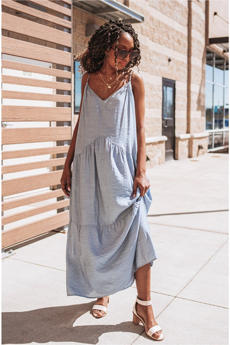 Blue Tiered Strappy Maxi Dress - BluePeppermint Boutique