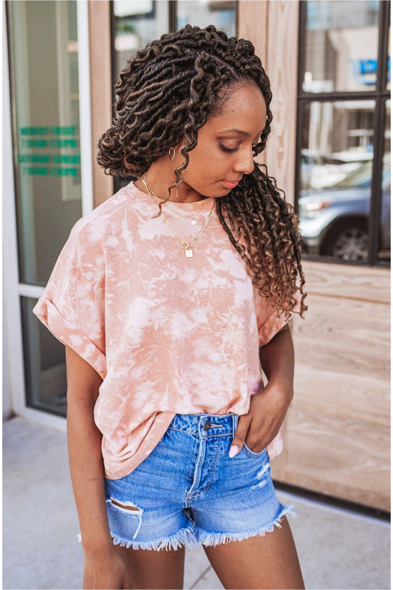Blush Tie Dye Dolman Sleeve Top - BluePeppermint Boutique