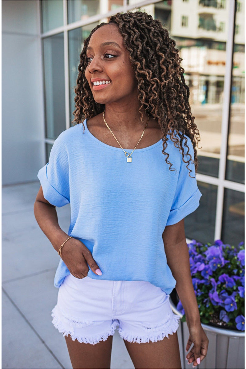 Blue Cuffed Sleeve Top - BluePeppermint Boutique