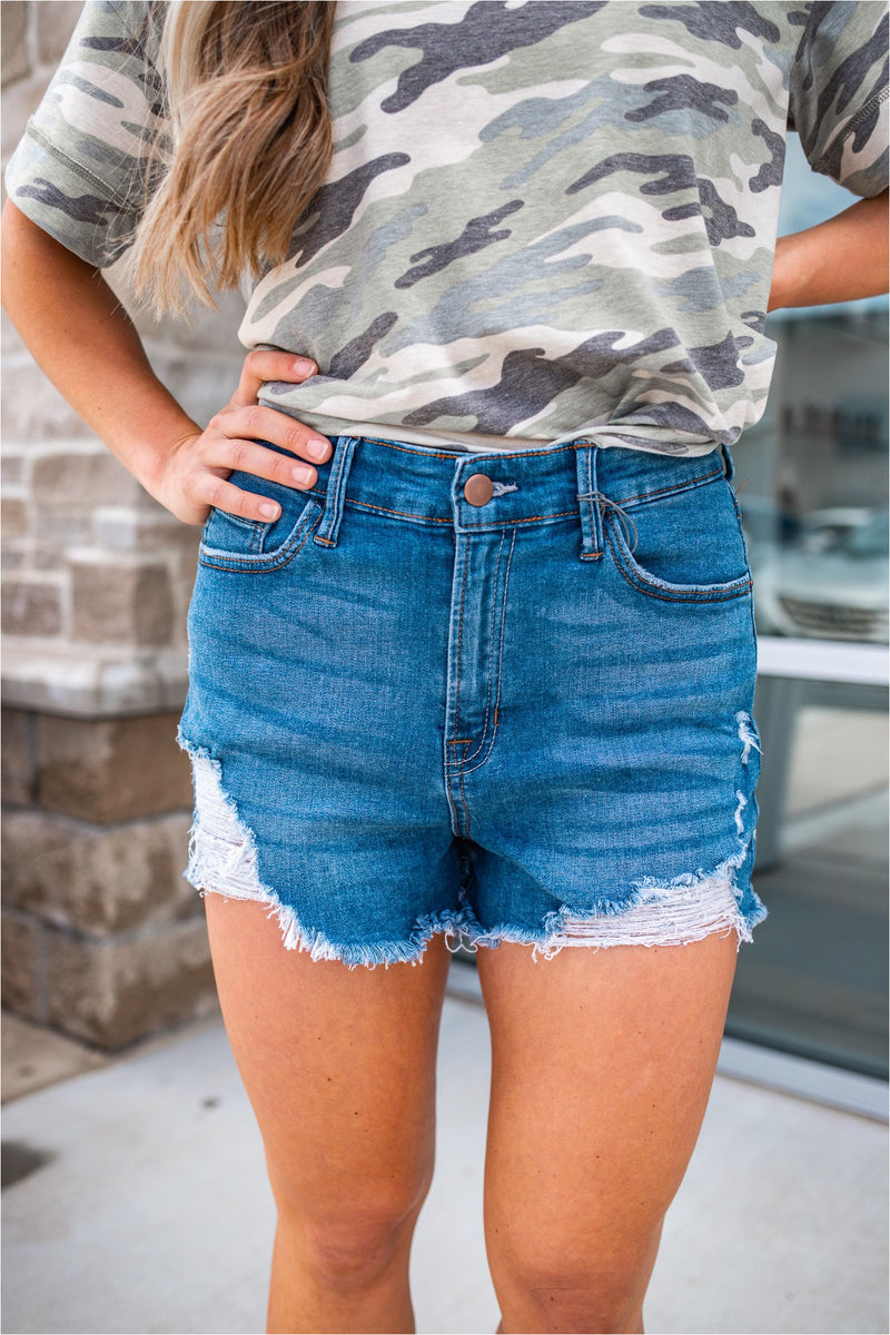 Irvine High Waisted Distressed Denim Shorts
