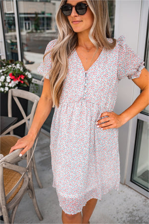 Ivory Button Down Tiered Dress