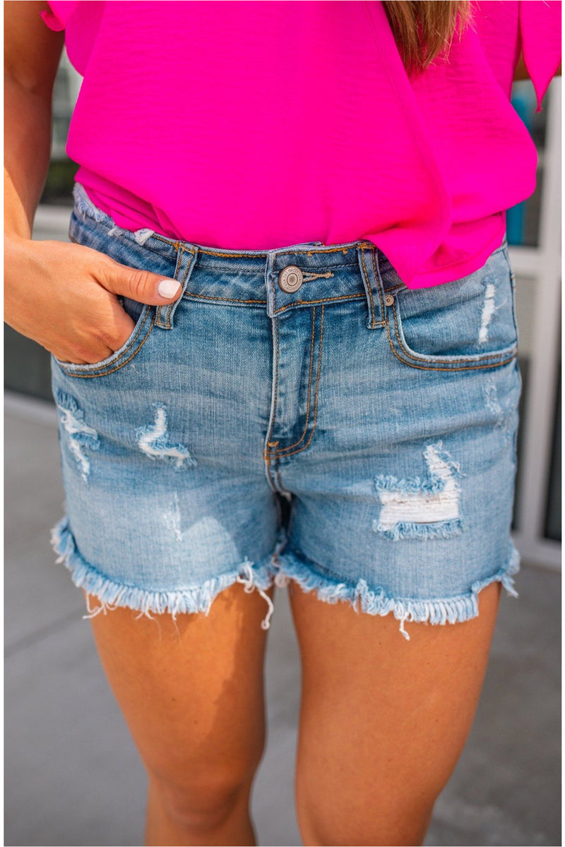 Santa Ana Midrise Fray Hem Denim Shorts