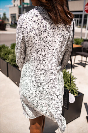 Ivory Dotted Long Sleeve Dress